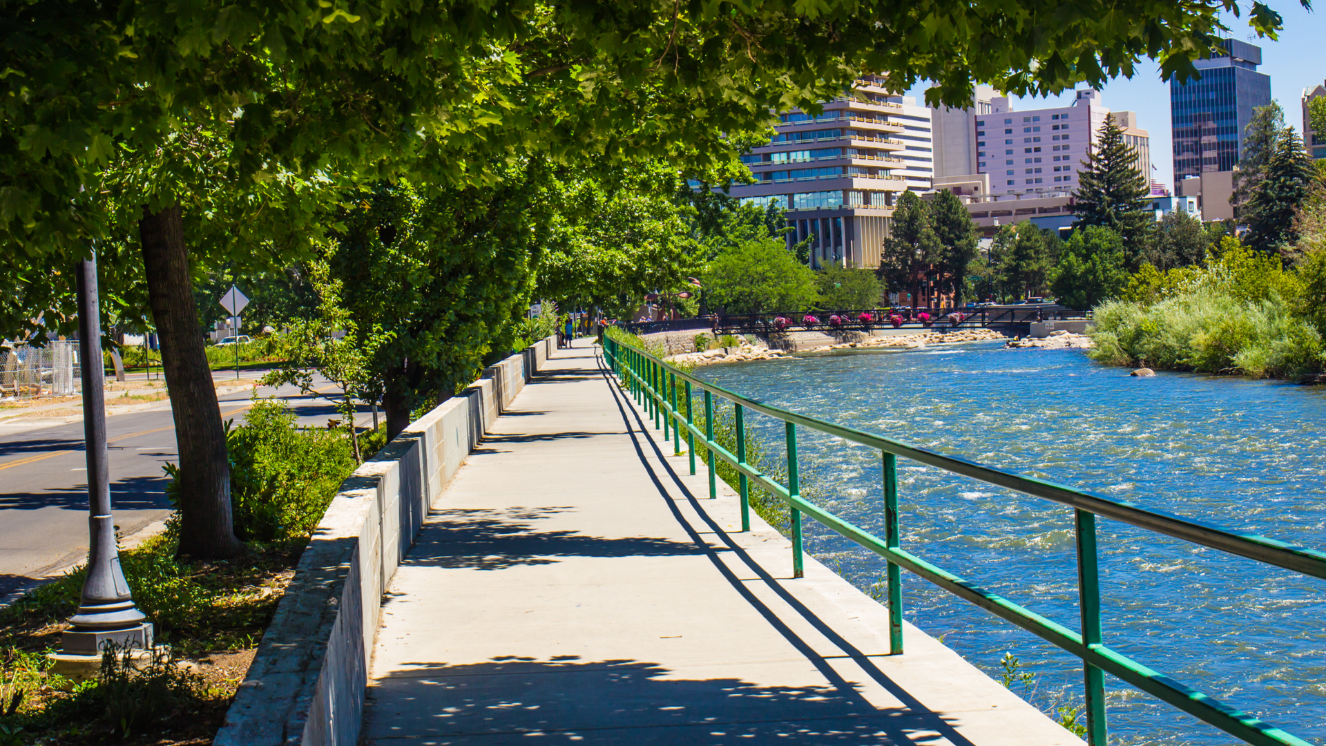 featured image showing Reno's Riverwalk